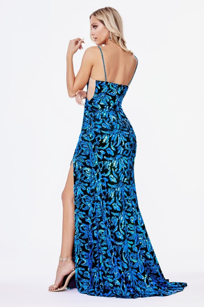 Fitted dress with iridescent sequin print and velvet finish