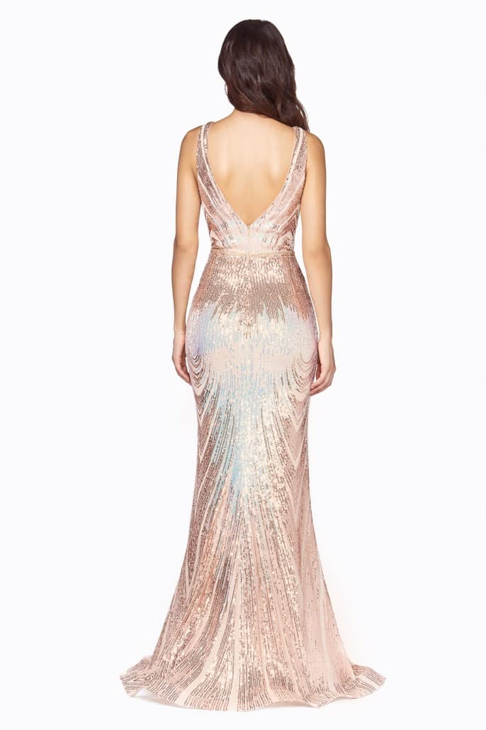Slim fit iridescent gown with ombre sequin pattern and deep v-neckline