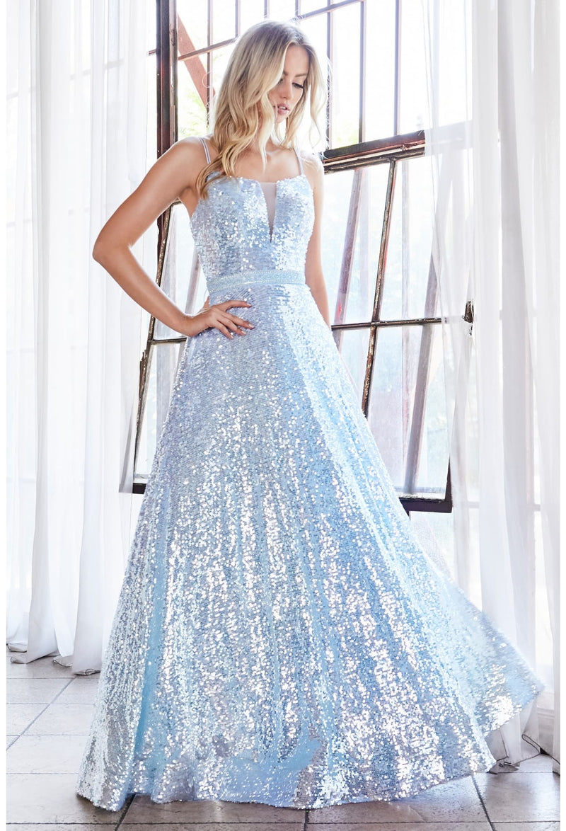 Fully sequined ball gown with straight neckline and lace up corset back