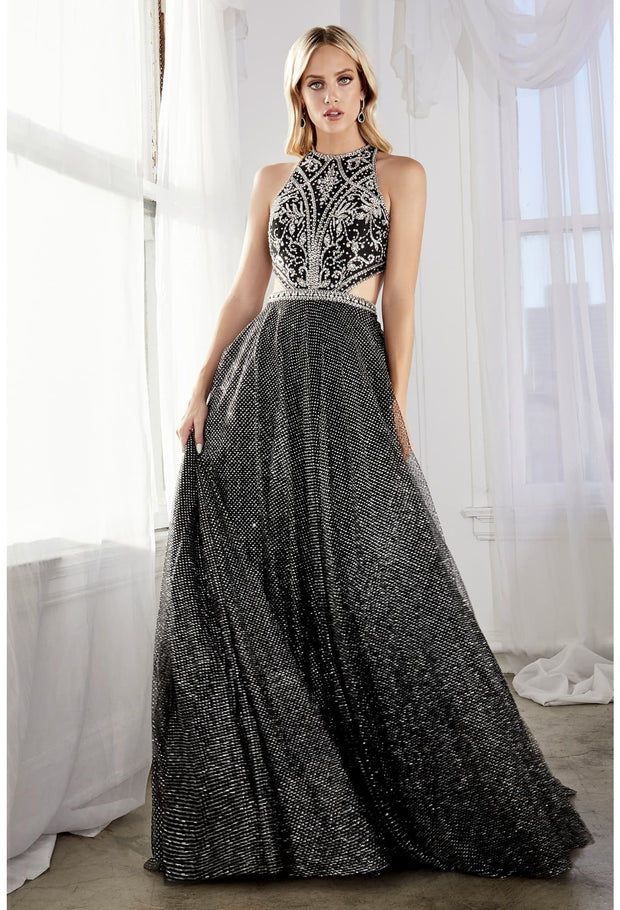 Ball Gown with layered glitter tulle and beaded halter neckline