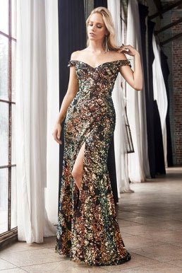 Off the shoulder sheath dress with iridescent sequin finish and leg slit