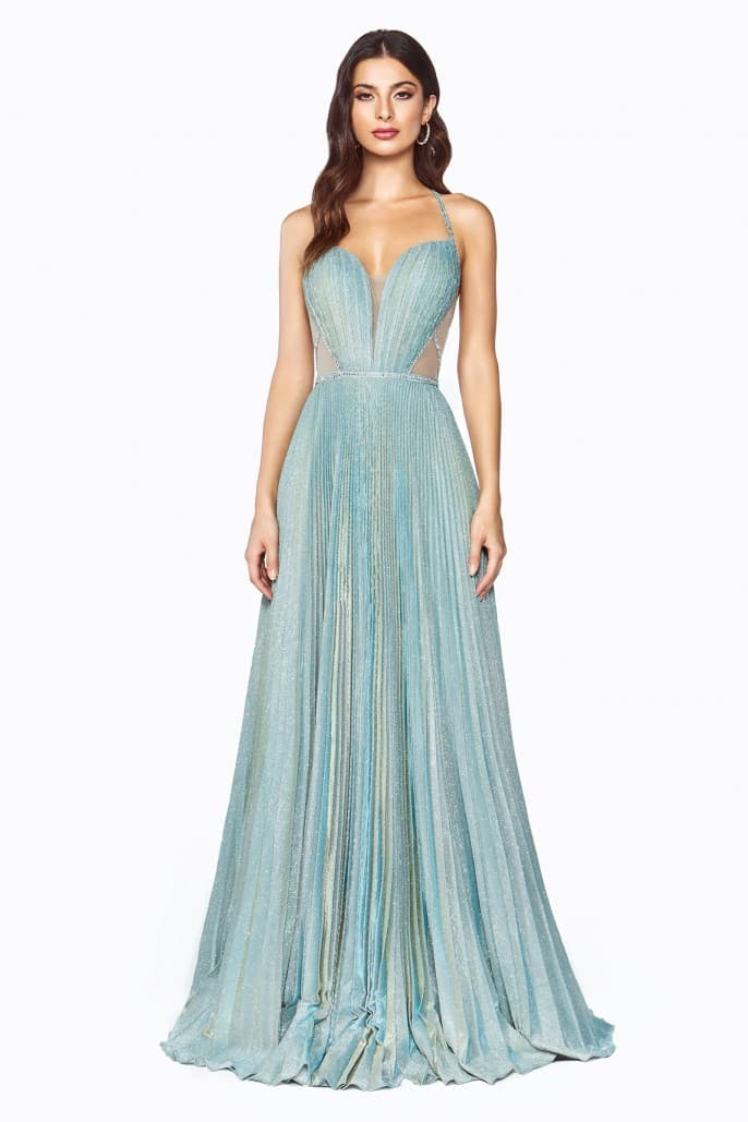 A-line metallic glitter gown with beaded strappy back and pleated finish