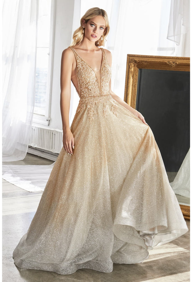 Ball Gown with ombre glitter finish and lace beaded bodice
