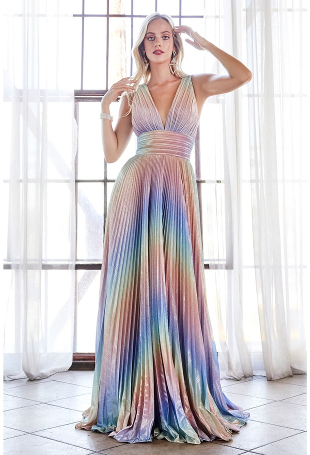 A-line rainbow dress with metallic pleated finish and criss cross open back