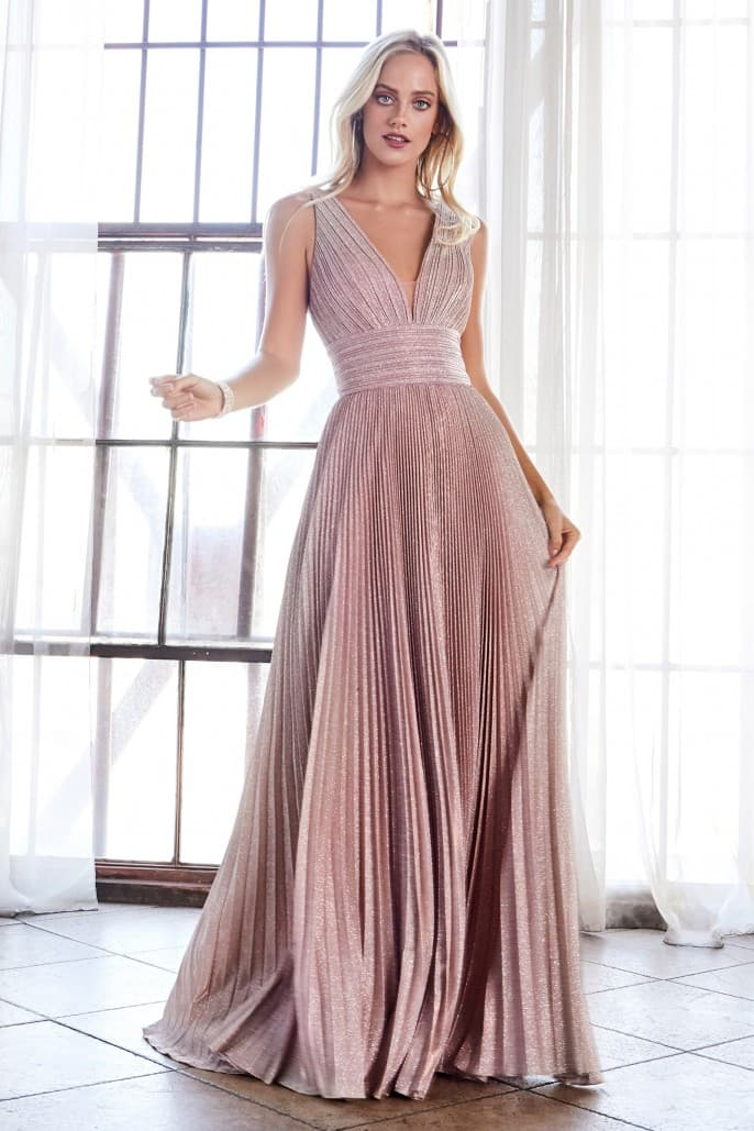 A-line pleated dress with gathered neckline and strappy open back