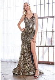 Fitted leopard print sequin gown with open back and adjustable zipper slit