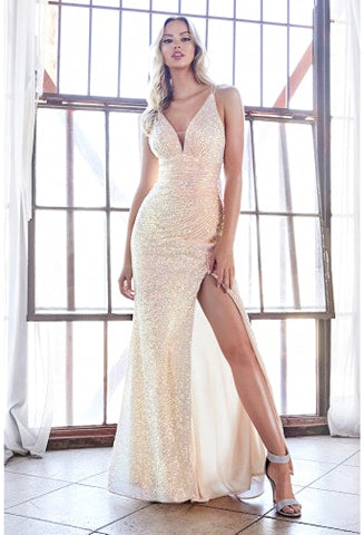 Fitted opal sequin gown with gathered waist and leg slit