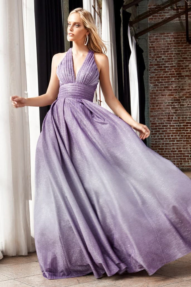 Ball Gown with halter pleated neckline and ombre glitter finish