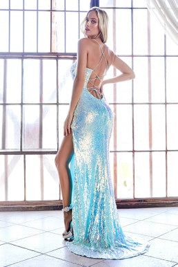 Iridescent sequin fitted dress with lace up back and leg slit