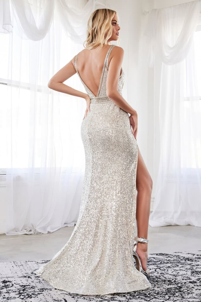 Slim fit gown with sequin and beaded details, complete with leg slit