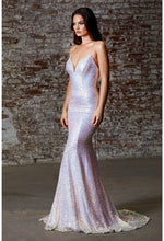 Fitted iridescent sequin gown with lace up back and deep sweetheart neckline