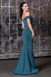 Off the shoulder fitted gown with metallic finish and belt