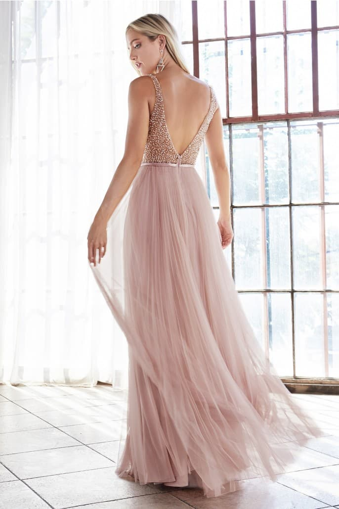 A-line pleated dress with english net overlay and beaded bodice