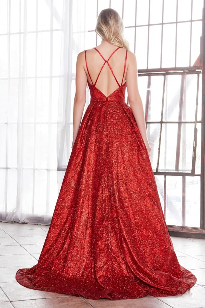 Glitter ball gown with criss cross back and plunge straight neckline