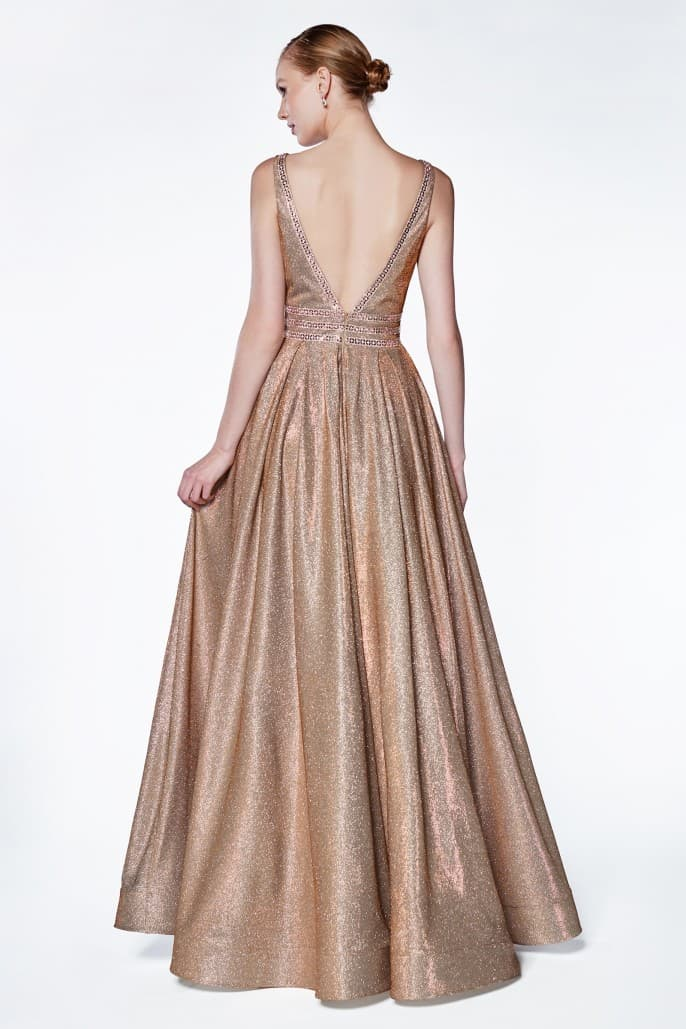 A-line metallic ball gown with beaded bodice detail and deep v-neckline