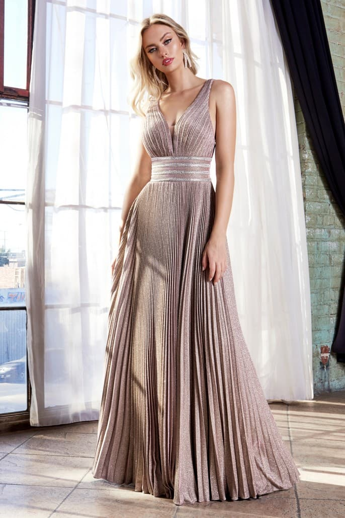 A-line pleated dress with beaded belts and gathered bodice
