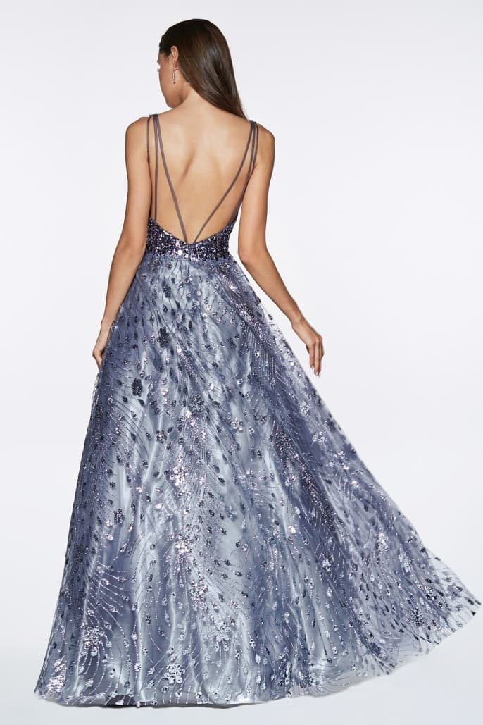 Glitter ball gown with beaded deep plunge neckline and open back