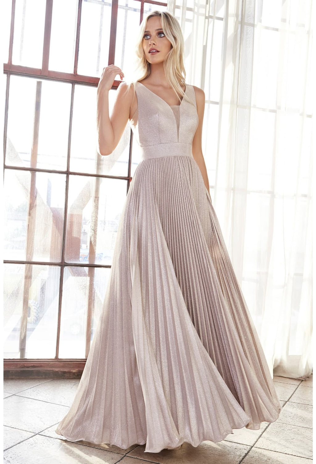 A-line pleated gown with glitter metallic finish and deep plunge v-neckline