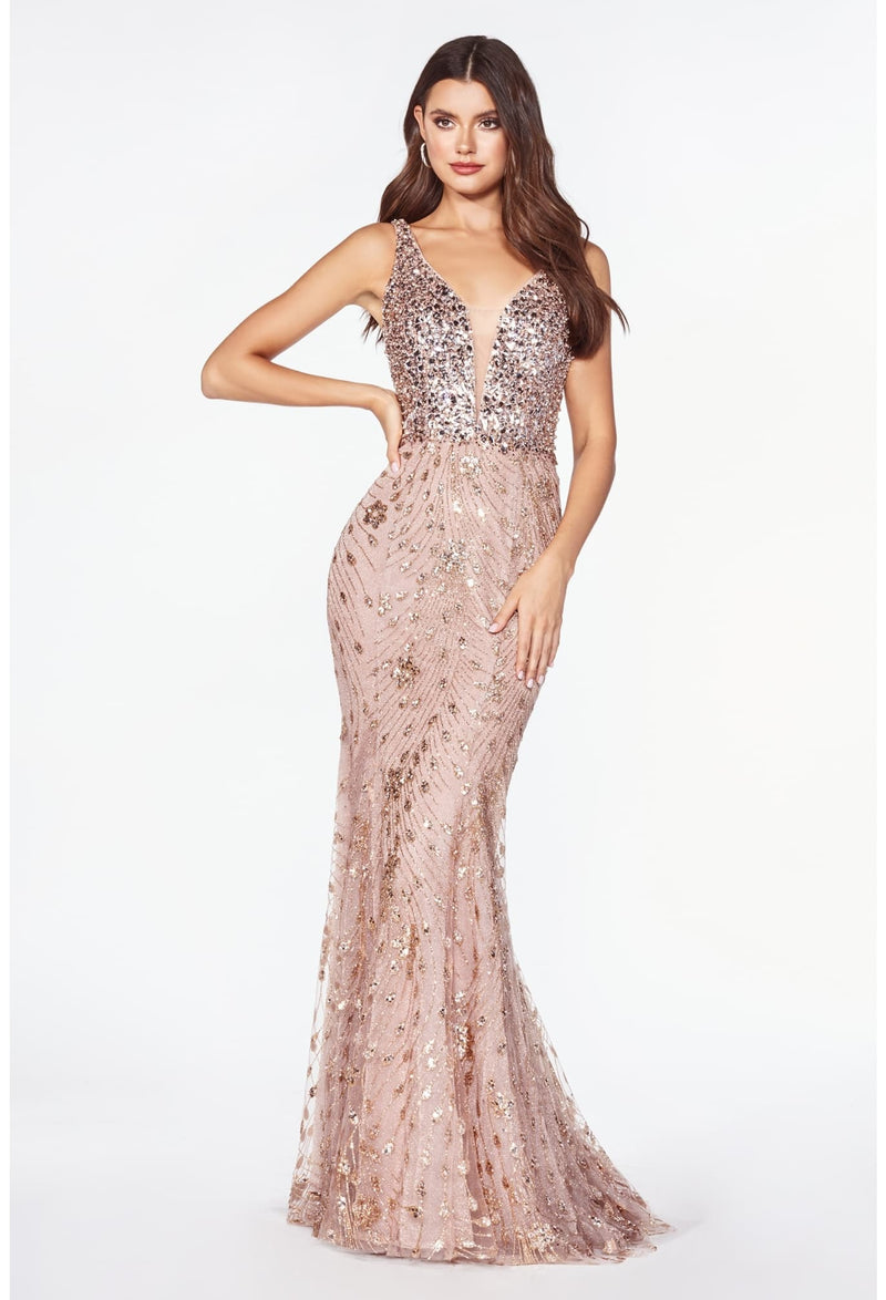 Fitted gown with layered glitter print embellished bodice and open back