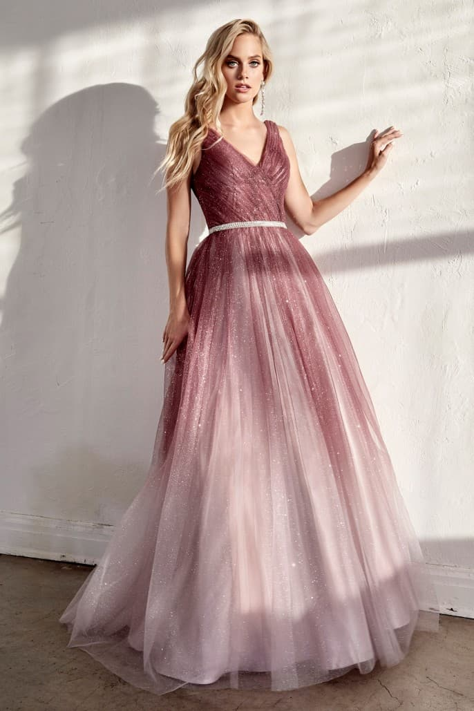 Ombre ball gown with pleated bodice and glitter tulle finish