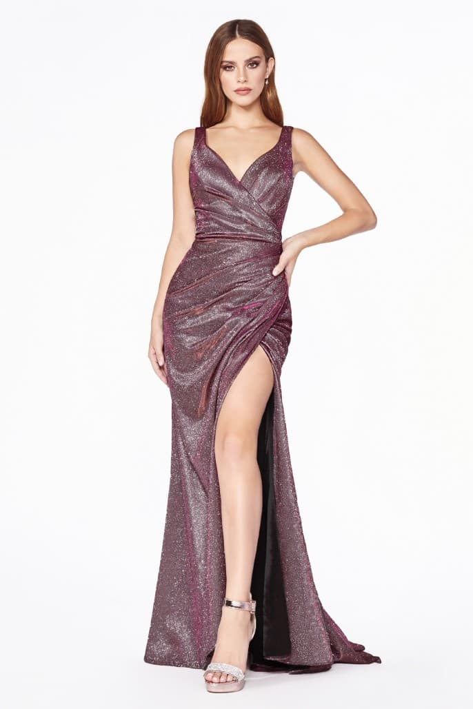 Fitted sparkle ruched gown with leg slit and v-neckline