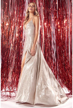 A-line dress with metallic glitter finish and pleated bodice