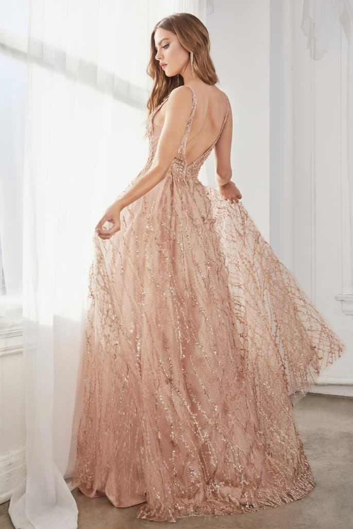 Ball gown with layered tulle and glitter lace print