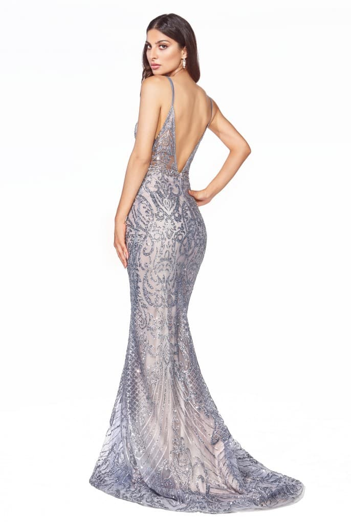 Slim fit gown with glitter print details and deep plunging neckline