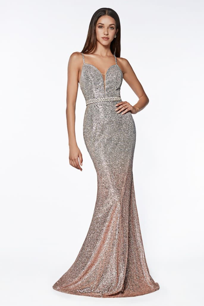 Fitted glitter gown with ombre effect and beaded belt