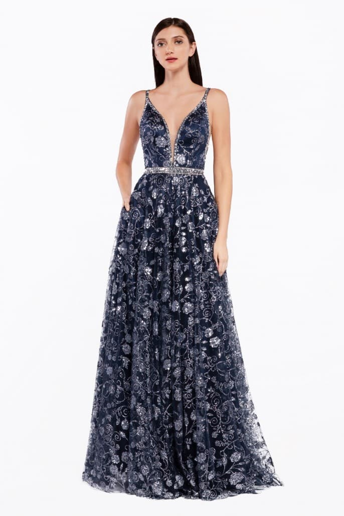 A-line floral glitter print gown with beaded edging and belt