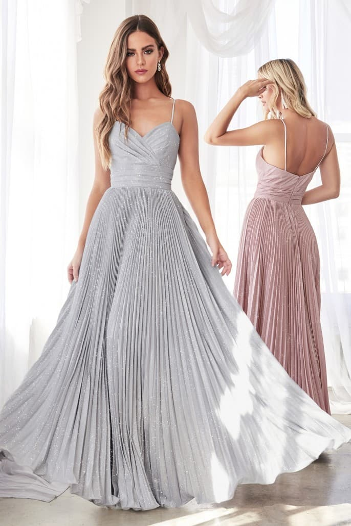 A-line pleated dress with metallic glitter finish and sweetheart neckline