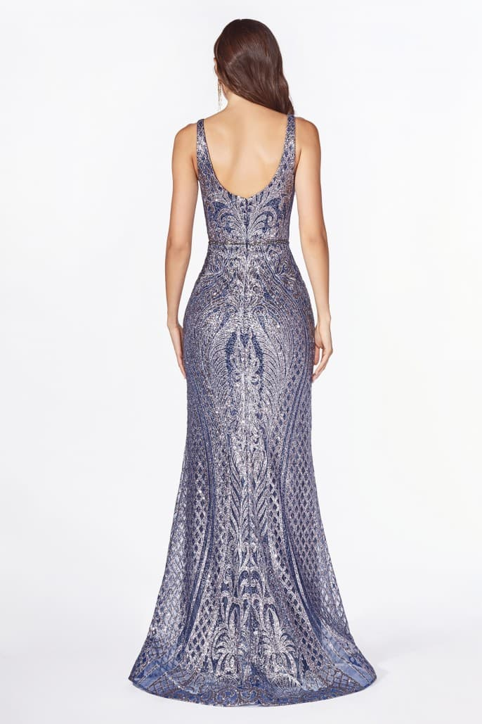 Fitted gown with glitter scroll print and v-neckline
