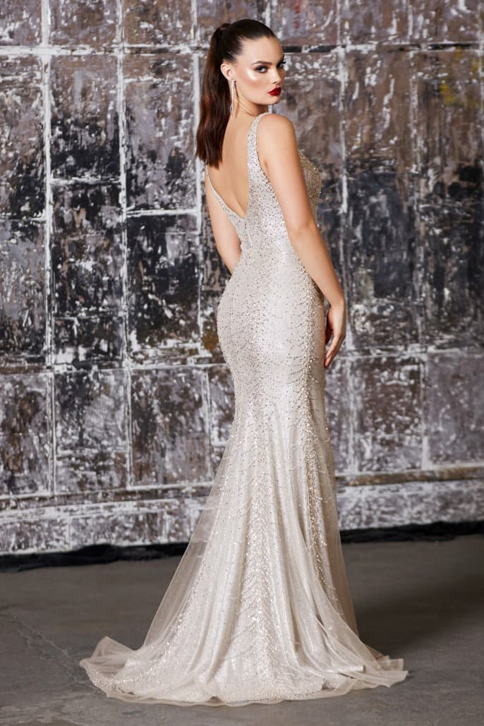 Slim fit gown with beaded details and metallic glitter underlay
