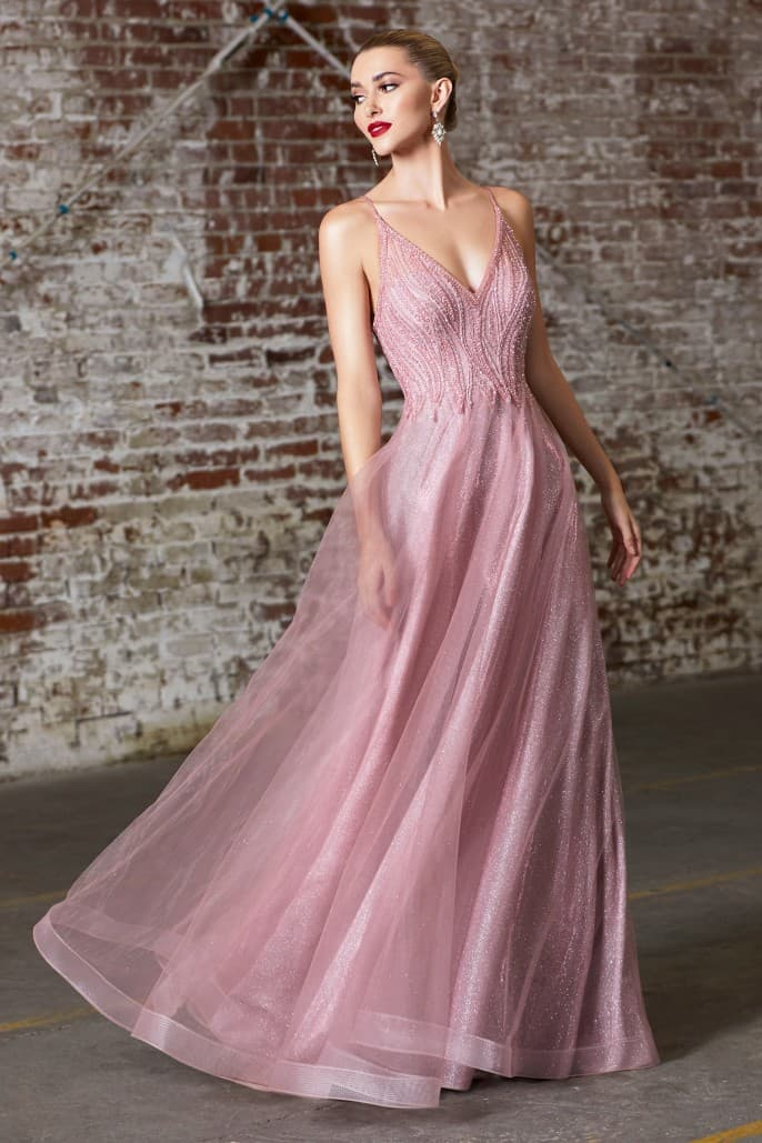 A-line gown with embellished bodice and layered tulle skirt