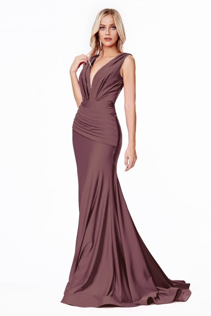 Fitted jersey gown with rouched waistline and pleated deep v-neckline