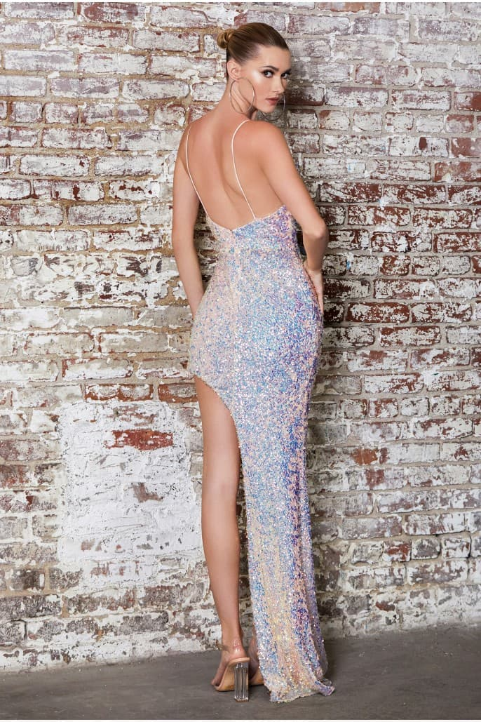 Fitted high-low sequin gown with gathered waist and cowl neckline.