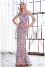 Fitted sequin print gown with iridescent pattern and sheer illusion sides