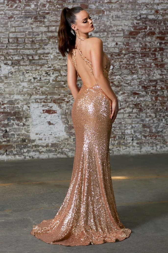 Slim fit gold sequin gown with criss cross back and leg slit