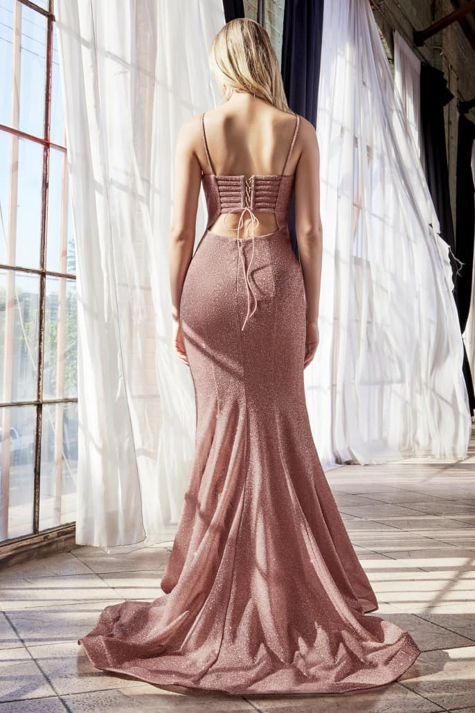 Fitted glitter gown with lace up back and plunge neckline