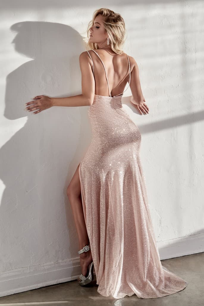 Diamond Dust Glitz Gown with Leg Slit