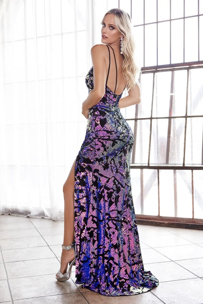 Slim fit gown with iridescent sequins and deep plunge neckline