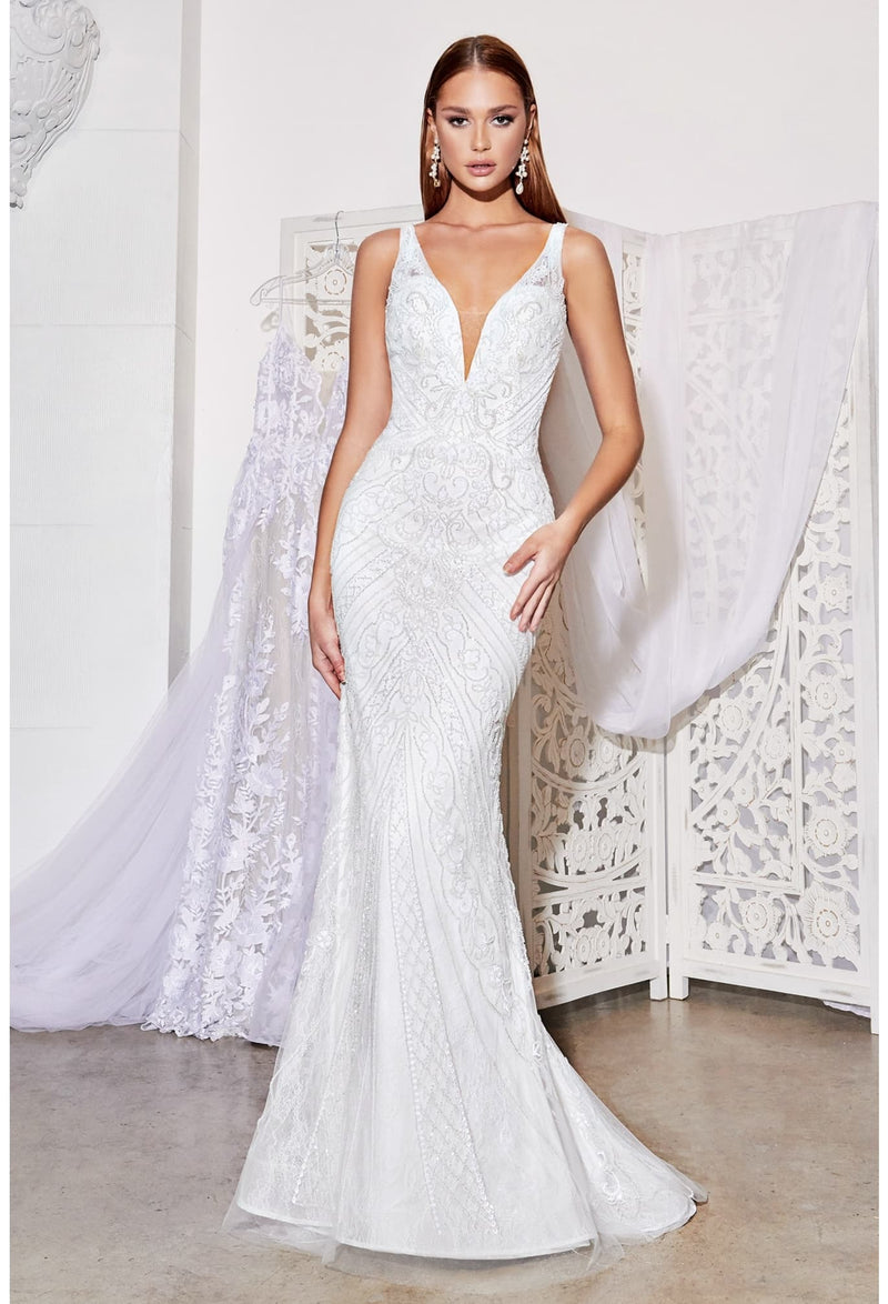Fitted beaded bridal gown with beaded details and criss cross back