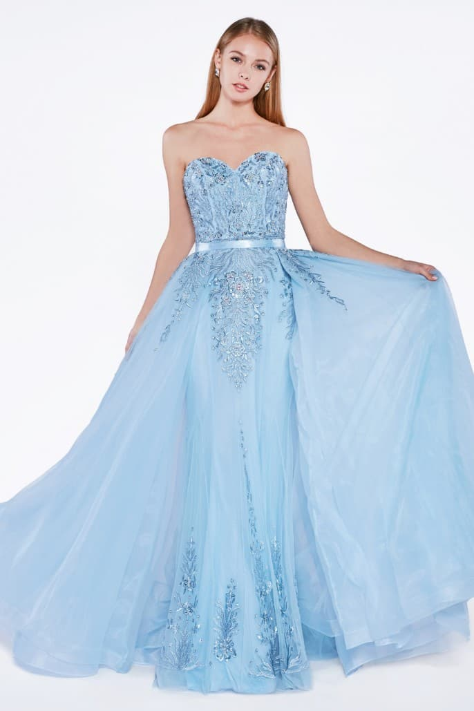 Strapless gown with jeweled lace details and detachable tulle overskir