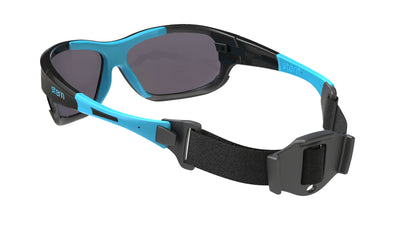 Full wrap sunglasses with polarized interchangeable lenses that block out harmful UV420 rays. The full wrap and head retention system make this a great product for water sports.