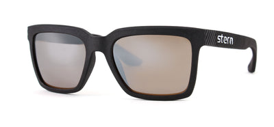 Polarized sunglasses with brown tint and a silver flash mirror that blocks out harmful UV420 rays. Sunglasses are made in the USA with laser fusion 3D printing.