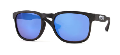 Polarized sunglasses with grey tinted lenses with revolver blue mirror that block out harmful UV420 rays. Sunglasses are made in the USA with laser fusion 3D printing.