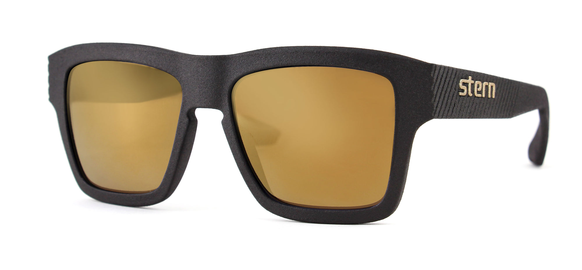 Polarized sunglasses with brown tinted lenses with gold flash mirror that block out harmful UV420 rays. Sunglasses are made in the USA with laser fusion 3D printing.