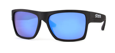 Polarized sunglasses with grey tinted lenses with blue revolver mirror that block out harmful UV420 rays. Sunglasses are made in the USA with laser fusion 3D printing.