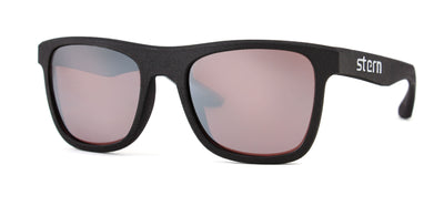 Polarized sunglasses with rose tinted lenses with flash silver mirror that block out harmful UV420 rays. Sunglasses are made in the USA with laser fusion 3D printing.