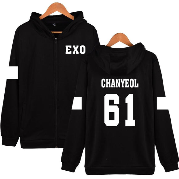 EXO 'Member' Zipped Hoodie - Black - Totally Kpop